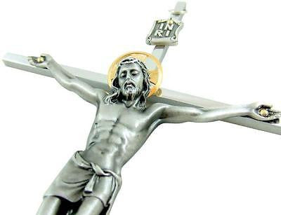 "Catholic Wall Crucifix Silver Plated Metal Catholic Home Cross Gift 10"" USA Made"