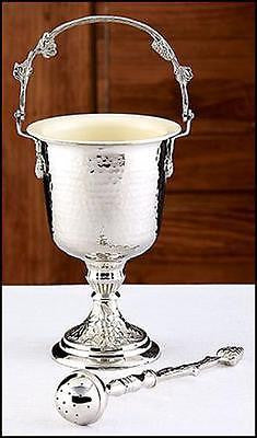 "Hammered Finish Silver Plated Holy Water Pot w/ Sprinkler Set 14"" H"