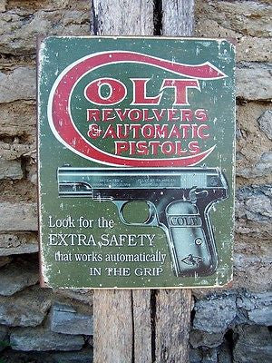 Retro Ad Antique Style Colt Gun Firearms Sign Basement Garage Wall Picture Gift