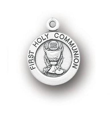 MRT Sterling Silver Boys or Girls First Holy Communion Medal w Chain Boxed 3/4""