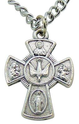 Four Way 4-Way Metal Cross Pendant