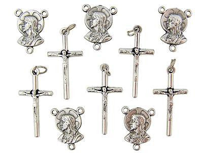 "10 Lot Crucifix Rosary Petite 1"" Post Cross & Centerpiece Holy Gift Italy"