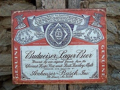 Vintage Antique Style Budweiser Bud Sign Retro Basement Garage Bar Gift USA 16""