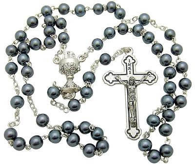 "First Holy Communion Hematite Bead Rosary Boxed 18"" Catholic Gift"