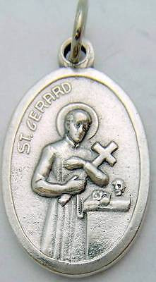 "MRT One 2 Sided St Gerard Silver Plate Saint Medal Catholic Gift 3/4"" Italy"