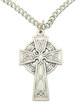 "Celtic Cross Pendant 1""L Oxidized Silver Tone Metal Irish Gift with Box & Chain"