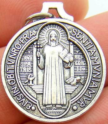 "MRT St Saint Benedict Silver Tone Metal Protection Medal Crest Gift 7/8"" Italy"
