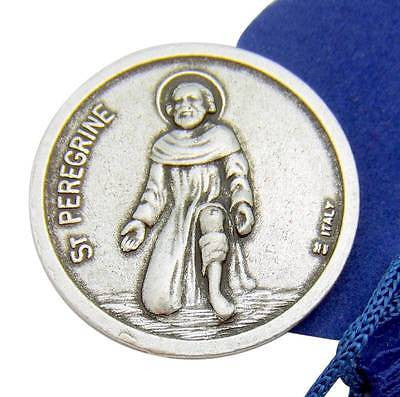 MRT St Saint Peregrine 1 Inch Prayer Coin Token Silver Tone Metal w Bag Italy