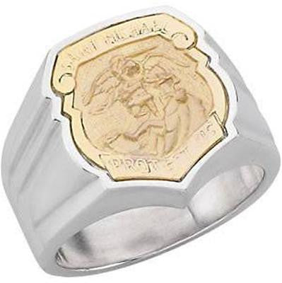 MRT Large 14KT Gold on Sterling Silver Mens St Michael Police Badge Ring Gift