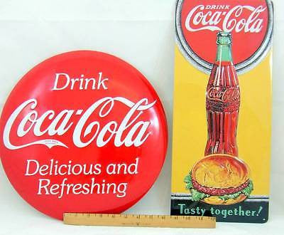 "SPECIAL 2 Coca-Cola Tin Sign Embossed Gift Set Lot 14"" Domed Coke & Hamburger"