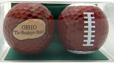 Perfect Golfer Gift Set of 2 Football Fan From Ohio Golf Ball Gift Pack