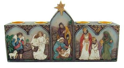 MRT Joy to the World Christmas Nativity Scene Votive 4 Candle Holder Cast Resin