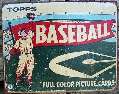 Old Style Topps Baseball Cards Sign Ad Retro Home Garage Wall Decor Gift US 16""