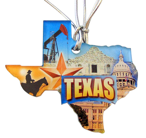 Texas Christmas Ornament Acrylic State Shaped Decoration Boxed Gift Made in The USA