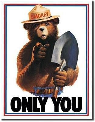 Only You Smokey The Bear Forest Fire Retro Tin Sign Home Wall Decor Gift USA 16""