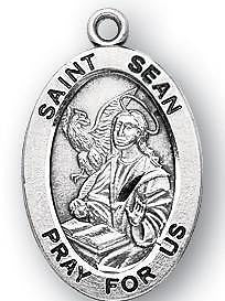 "St Sean 7/8"" Oval Sterling Silver Medal Irish Saint Gift w Steel Chain Boxed"