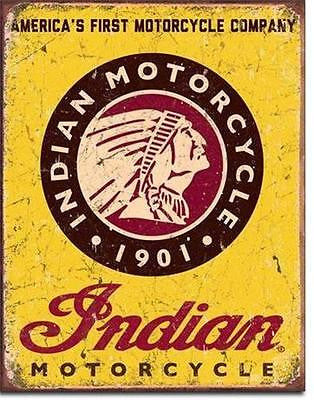"Indian Chief Americas Motorcyle 1901 Tin Sign Antique Style Wall Decor Gift 16""L"