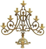 "Ave Maria Brass 7 Candle Candelabra Large Church Altar Supplies 14 1/2""H"