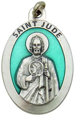 "LARGE St Jude 1.5"" Pendant Green Enamel Saint Medal Silver Plated Gift by MRT"