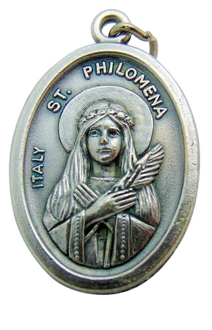 "Set of Five Saint Philomena Medal 3/4"" Metal Catholic Saint Pendant Gift Made in Italy"