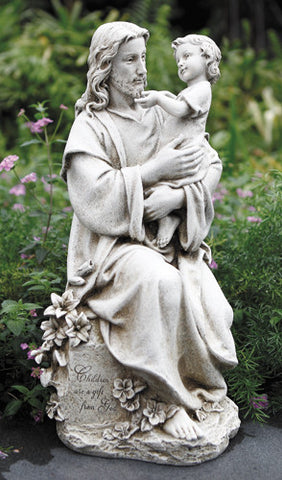 "Jesus with Child Garden Statue Stoneresin Home or Church Yard Decor 20""H"