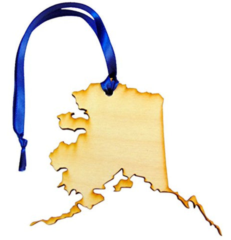 Alaska Wooden Christmas Ornament Boxed State Map Gift Handmade in The U.S.A.