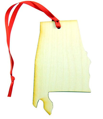 Alabama Wooden State Map Christmas Ornament Boxed Gift Handmade in The U.S.A.