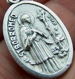 "1"" Saint St. Borromeo Medal Silver Tone Metal Gift from Italy"