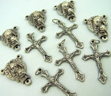 Mary with Child Jesus Centerpiece & Cross Crucifix Rosary Silver Tone Metal Parts Set of 10