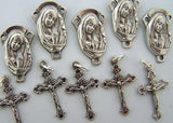Cross Crucifix Mary Pray Jesus Rosary Silver Gilded Lot