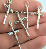 Set of 5 Silver Tone Rosary Parts Cross Crucifix Pieces