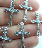 Crucifix Cross Rosary Center Piece Part Silver Tone Lot Of 5  from Italy