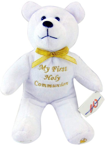 First Communion Plush Teddy Bear Stuffed Animal with Embroidered Script, 6 Inch