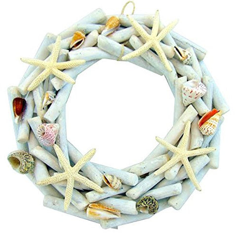 Driftwood Wreath with Starfish & Seashells Large Nautical Beach Decor 14 1/2""