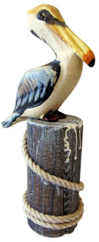 Wood Pelican Statue On Piling with Rope Handmade Decoration, 10 Inches