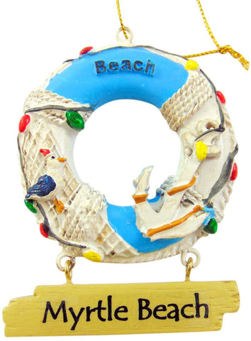 Myrtle Beach Ornament Life Ring Preserver South Carolina Souvenir Christmas Decoration
