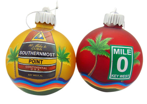 Key West Southernmost Mile 0 Christmas Bulb Ornament Pack Tree Decoration Hand Painted, Set of 2