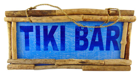 Tiki Bar Wooden Wall Decor Sign Tropical Decoration, 15 Inches Long