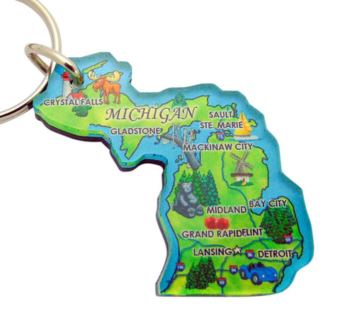 Michigan Key Chain Acrylic Souvenir Retro State Map Gift 2 Inch