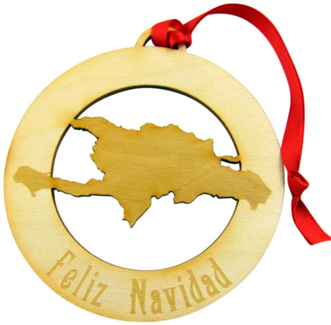 Dominican Republic Ornament Merry Christmas in Spanish Feliz Navidad Wooden Tree Decoration