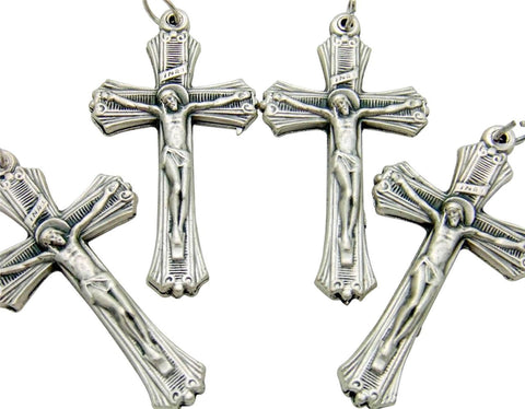 "4 Lot Ribbed Pectoral Crucifix Pendant Silver Plate Catholic Cross 2"" Italy"