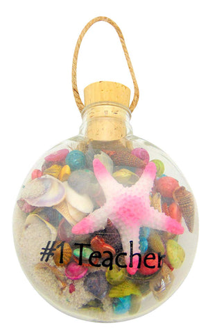 Beach Christmas Ornament for #1 Teacher with White Sand and Starfish