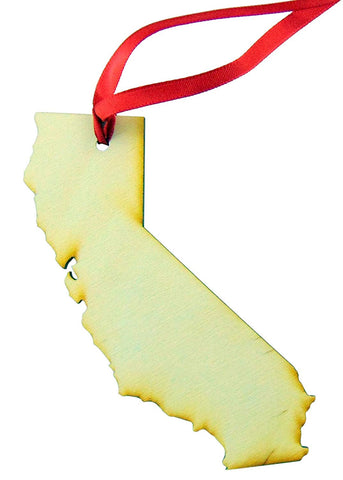 California Wooden Christmas Ornament State Map Boxed Gift Handmade in the USA