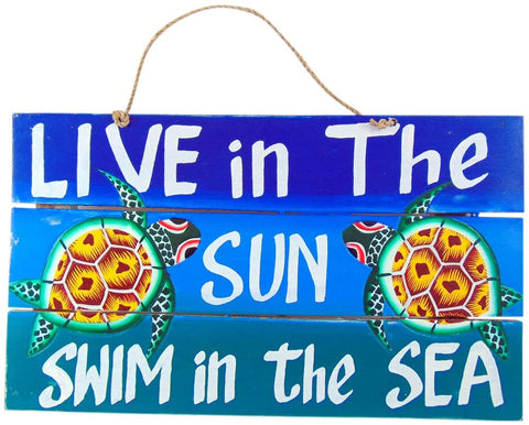 Westmon Works Sun and Sea Beach House Sign Hand Painted Pallet Wood Tiki Bar Decor 16 Inches Long