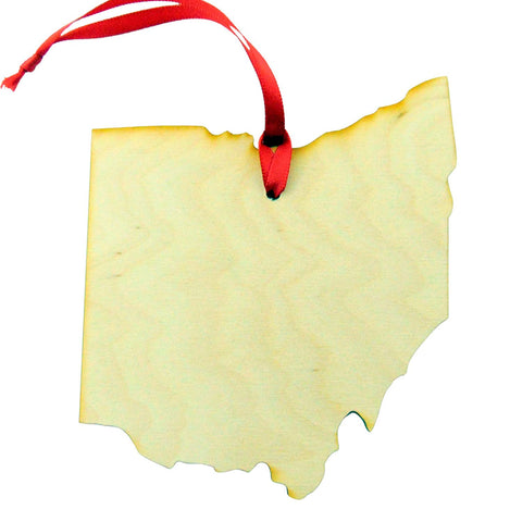 Ohio Wooden Christmas Ornament State Map Boxed Gift Handmade in The U.S.A.