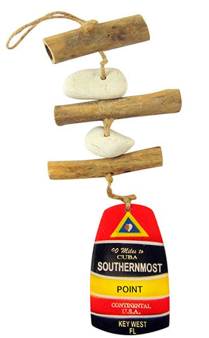 Southernmost Point Key West Driftwood Mobile Decorative Hanging Strand Coastal Home Decor 15 Inches Long