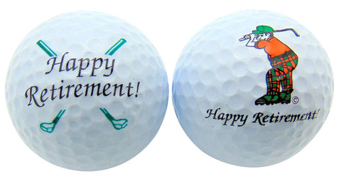 Happy Retirement Set of 2 Golf Ball Golfer Gift Set