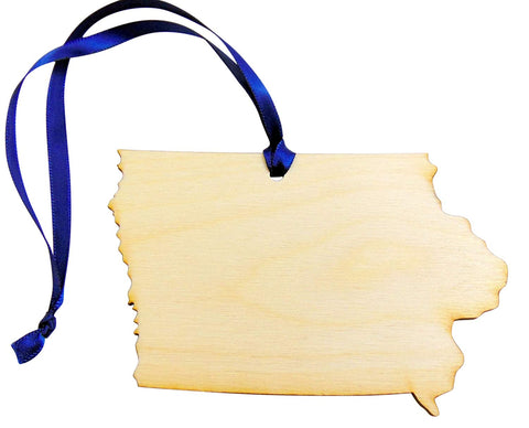 Iowa Wooden Christmas Ornament State Map Decoration Boxed Gift Handmade in The U.S.A.