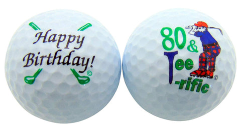 80th Birthday Eighty & Tee-rific Set of 2 Golf Ball Golfer Gift Pack