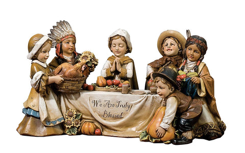 Pilgrim and Indian Kids at Table Figurine We are Truly Blessed Thanksgiving Statue Home Decor